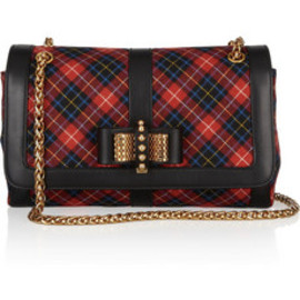 Christian Louboutin - Sweet Charity Small leather-trimmed plaid flannel shoulder bag