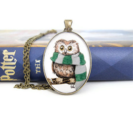 Luulla - Owl Jewelry, Owl Necklace, Harry Potter Necklace, Harry Potter Jewelry, Slytherin Necklace, Hogwarts Apparel, Owl Gifts