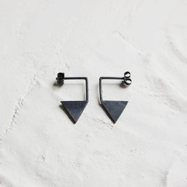 Ag.Jc - Oxidized silver geometrics pendants earrings #12