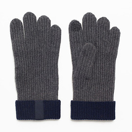 OVADIA & SONS - Gray/Navy Cashmere Texting Gloves