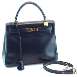 Hermes - Kelly 30 cm inside stitch Black box calf