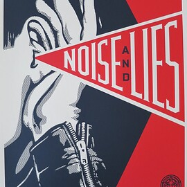 Shepard Fairey, - 'Noise and lies Red', 2018, Print,