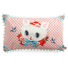 Mod Retro Vintage Decor Accessories - Cat Miss It Pillow by Wu & Wu - Pink, Multi, Red, Blue, White, Print with Animals, Poms
