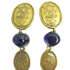 CHANEL - vintage 1点モノ!円高還元◆CHANEL ◆long crown CC dangle earrings 1