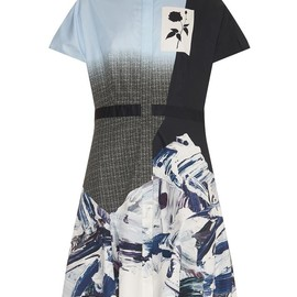 PRABAL GURUNG - Ombré-effect marble-print shirt dress