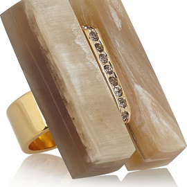 MARNI - Gold-plated, horn and crystal ring