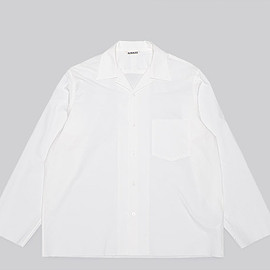 AURALEE - Selvedge Weather Cloth Open Collared Shirts-White