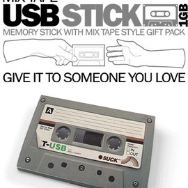 SUCK UK - Mix Tape USB Stick 1GB memory stick with mix tape style gift pack give it to some one you love