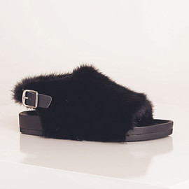 Céline - BOXY FLAT FUR SLINGBACK SANDAL IN BLACK NAPPA CALFSKIN AND BLACK FUR