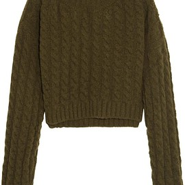 Vivienne Westwood Anglomania - Mud cropped twill-paneled cable-knit wool-blend sweater