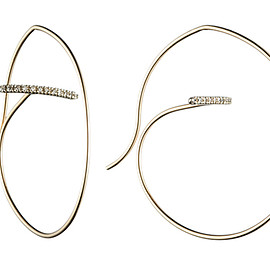 Hirotaka - Gossamer Floating Diamond Bar Round Earring