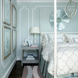 metallic light colored bedroom