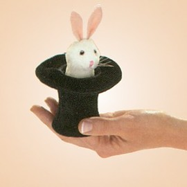 Folkmanis Stuffed Plush Mini Rabbit in Hat Finger Puppet