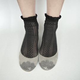 elehandmade - The Lizzie Shoes in Gray - Limited Serie of Leather Handmade Ballet Flats - Scalloped Snakeskin Toe