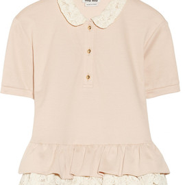 miu miu - Lace and cotton-piqué top