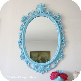 Upcycled Ornate Syroco Aqua Mirror ~Kids Room Decor
