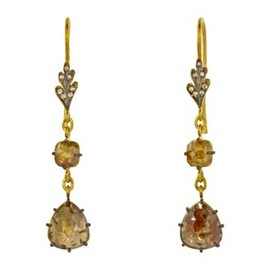 CATHY WATERMAN - Double Rustic Diamond Leaf Drop Earrings