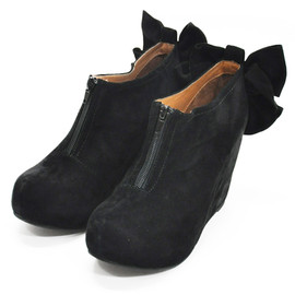 JEFFREY CAMPBELL - Back ribbon suede wedge/BLACK