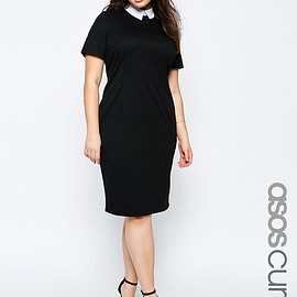 ASOS - Image 1 of ASOS CURVE Bodycon Dress with Contrast Collar