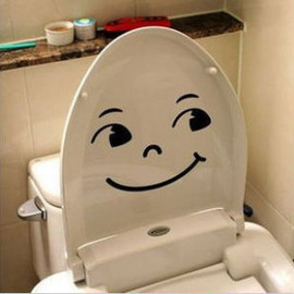 "art deco plastic """" Happy "" TOILET BATHROOM DECAL DECOR ART Wall Sticker"