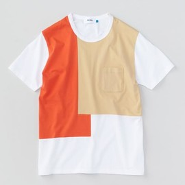 aloye - Patchwork - Color Block S/S T-shirt (Beige-Red)