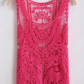 crocheted lace tank in rose