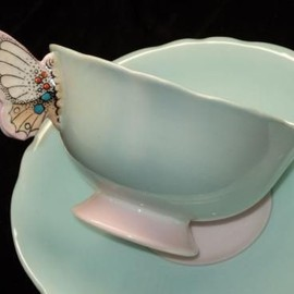 PARAGON - PARAGON BUTTERFLY HANDLE TEA CUP AND SAUCER BLUE