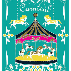 dekanimal - Large 13 X 19 / Poster / Merry - Go - Round Print / Turquoise