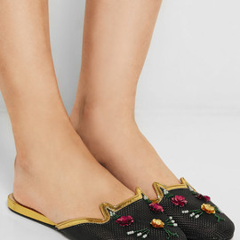 Charlotte Olympia - Kitsch Kitty embellished mesh slippers
