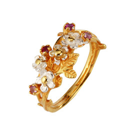 Alex Monroe - FLOWER RUBY RING