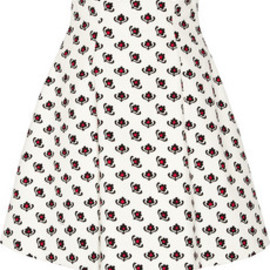 miu miu - Printed cotton A-line skirt