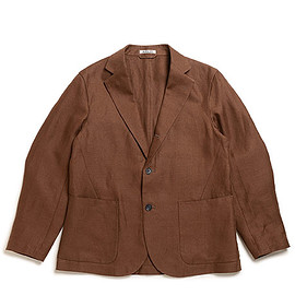 AURALEE - Linen Gabardine Jacket-Brown