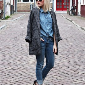 Denim & oversized coat
