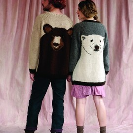 old believer - Brown Bear hand knit jumper, Lumberjack trousers (him) Polar Bear hand knit cardigan, Teeth pin tuck dress (her)