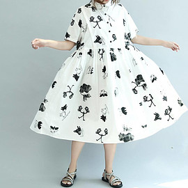 dress - White cotton Short sleeves dress