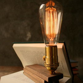 Wood Lamp DIY Book Lamp Industrial Light Shabby Chic Cool Gifts For Men Lighting Edison Bulb Lamp - Acacia Wood and Marconi Filament Bulb