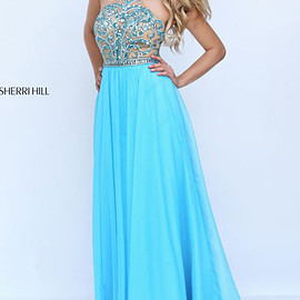 long prom dresses 2017 - Halter Neckline 2017 Turquoise Beaded Patterned Long Chiffon Prom Dresses