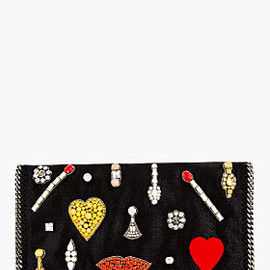 Stella McCartney - BLACK JEWEL EMBELLISHED FOLDOVER CLUTCH