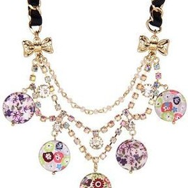 Betsey Johnson - ShopStyle.com: Betsey Johnson - Mother of Pearl Flower Frontal Necklace (Multi) - Jewelry $41.99