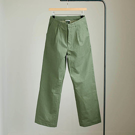 AURALEE - WASHED FINX TWILL WIDE PANTS #olive