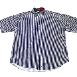TOMMY HILFIGER - Vintage Tommy Hilfger Navy Blue Striped Short Sleeve Button Down Shirt Mens Size XL