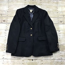 L.L.Bean - L.L.Bean Cashmere Wool Blend 3-Button Navy Blue Lined Jacket Womens Size 14-Reg