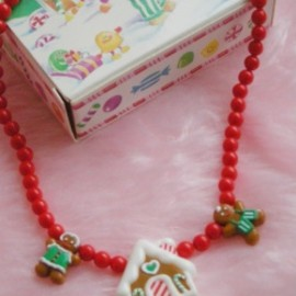 "AVON - 1980's AVON ""Gingerbread"" Christmas Necklace【箱付きDEAD-STOCK♡】"