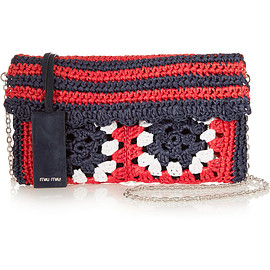miu miu - Raffia and suede shoulder bag