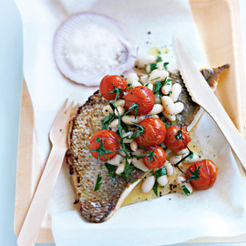 donna hay - roasted fish with white bean and parsley salad
