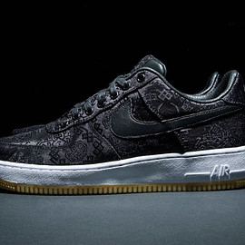 NIKE, CLOT, Fragment Design - Air Force 1 Low PRM - Black/University Red/White