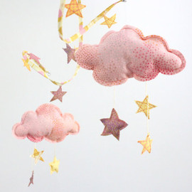 BabyJivesCo - Starry Night mobile in peach and gold - fabric sculpture decoration for nursery