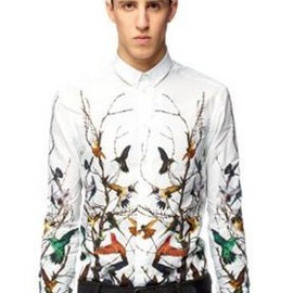 McQ - 【予約受付中】McQ CLASSIC LONG SLEEVES SHIRT BIRDS MULTI WHITE WITH BIRDS 2012-13AW