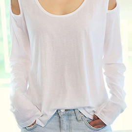 clothes - Image of  [grzxy6600397]Leisure Sexy Shoulder Cutout Pure Color Long Sleeve Shirt