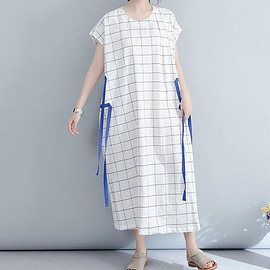 Summer with pockets dresses for women Summer plaid casual dress - dress
